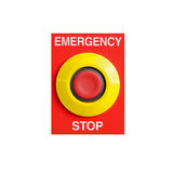 Emergency stop button isolated on white background. Royalty Free Stock Photo