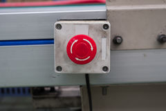 Emergency stop button line assembly. Emergency stop button line assembly royalty free stock photo