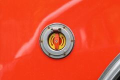 Emergency stop. Button at red vehicle exterior stock photo