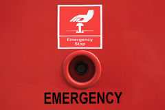 Emergency stop button. With sign stock photography