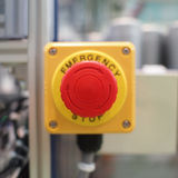 Emergency stop button_turn Royalty Free Stock Photo