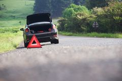 Emergency stop car on the road Royalty Free Stock Photo