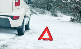 Emergency stop car on winter road. In the countryside stock photography