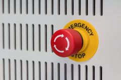 Emergency stop. Close up of emergency stop button switch, an electrical device for safety royalty free stock images