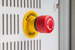 Emergency stop. Close up of emergency stop button switch, an electrical device for safety stock image