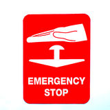 Emergency stop sign. A red and white emergency stop sign royalty free stock images