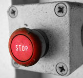Emergency StopBox. Red emergency buttonbox used to halt voltage supply Royalty Free Stock Photos
