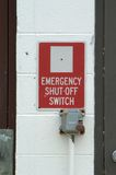 Emergency switch. Emergency shut off switch at an abandoned gas storage facility Stock Images