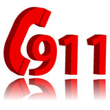911 emergency symbol. New 911 emergency symbol with reflection on a white background Stock Images