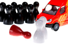 Emergency. Symbolized by wooden figures, isolated Stock Photo