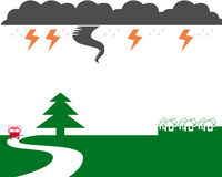 Emergency symbols. Tornado lightning rain fire truck and housing symbols Stock Images