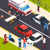 Emergency Team Isometric Composition. Showing car accident with watchers paramedics providing first aid policeman interviewing witnesses vector illustration Royalty Free Stock Image