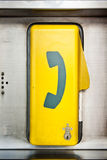 Emergency telephone box. On steel plate Stock Image