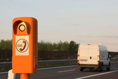 Emergency telephone at the roadside. Emergency telephone on a German highway (Autobahn royalty free stock photography