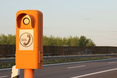 Emergency telephone at the roadside. Emergency telephone on a German highway (Autobahn royalty free stock photo