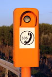 Emergency telephone at the roadside. Emergency telephone on a German highway (Autobahn Royalty Free Stock Image