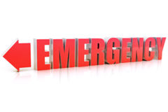 Emergency text with reflection. On a white background Royalty Free Stock Images