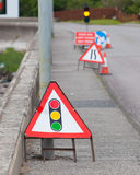 Emergency traffic light with sign royalty free stock images