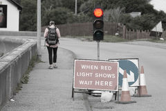 Emergency traffic light with sign royalty free stock photography