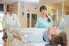 Emergency transportation patient to intensive care unit. Emergency transportation patient to the intensive care unit stock photo