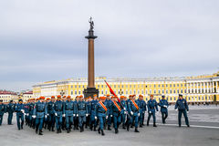 Emergency troops on victory day parade rehearsal.Victory parade Royalty Free Stock Photo