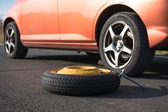 Emergency tyre on the road Royalty Free Stock Images