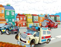 The emergency unit - the ambulance, firetruck and police. The happy and colorful illustration for the children Royalty Free Stock Photo