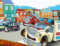 The emergency unit - the ambulance, firetruck and police. The happy and colorful illustration for the children Royalty Free Stock Photography