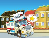 The emergency unit - the ambulance - illustration for the children. Beautiful and colorful illustration of an ambulance Stock Photos