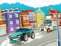 The emergency unit - the ambulance - illustration for the children. Beautiful and colorful illustration of an ambulance Stock Photo