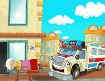 The emergency unit - the ambulance - illustration for the children. Beautiful and colorful illustration of an ambulance Stock Images