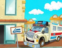 The emergency unit - the ambulance - illustration for the children Stock Photography