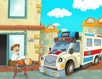 The emergency unit - the ambulance - illustration for the children Royalty Free Stock Image