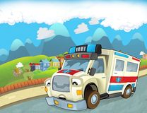The emergency unit - the ambulance - illustration for the children Stock Image