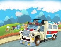 The emergency unit - the ambulance - illustration for the children Stock Images