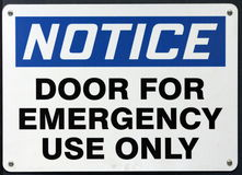 Emergency Use Door Sign Stock Photo