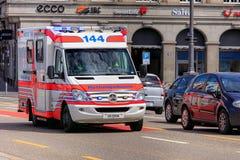 Emergency van in Zurich, Switzerland Stock Photo