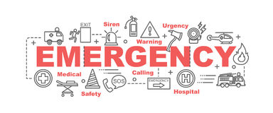 Emergency vector banner. Design concept, flat style with thin line art emergency icons on white background Stock Photography