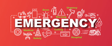 Emergency vector trendy banner. Design concept, modern style with thin line art emergency icons on gradient colors background Stock Images