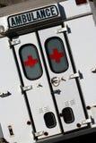 Emergency Vehicle. Ambulance doors, shot slightly tilted for dramatisation Stock Image