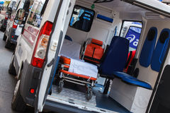 Emergency vehicle ambulance on marathon,  ambulance interior details. Stock Photography