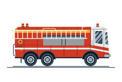 Emergency vehicle fire engine truck. Cool vector emergency vehicle fire engine truck in trendy flat design. Firefighter operations transport fire appliance or Royalty Free Stock Photo
