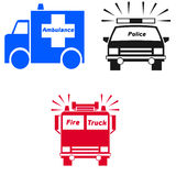 Emergency vehicle symbols Stock Images