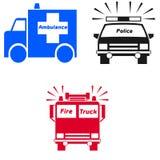 Emergency vehicle symbols. And text on white background Stock Images