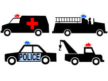 Emergency vehicles. Ambulance police car fire truck and tow truck silhouettes Stock Image