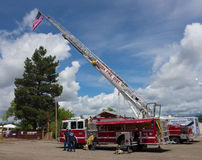 Emergency vehicles on display at a county fair in colorado royalty free stock photo