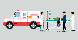 Emergency vehicles. With doctors and patients and families of patients Stock Photos