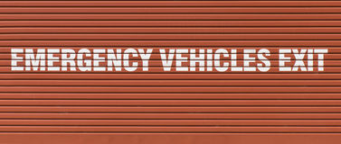 Emergency Vehicles Exit Sign Royalty Free Stock Image