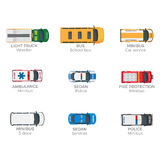 Emergency Vehicles Top View Vector Icons Set. Emergency vehicles top view icons set. Various technical support, police and rescue services minibuses isolated Stock Images