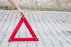 Emergency warning triangle Royalty Free Stock Images